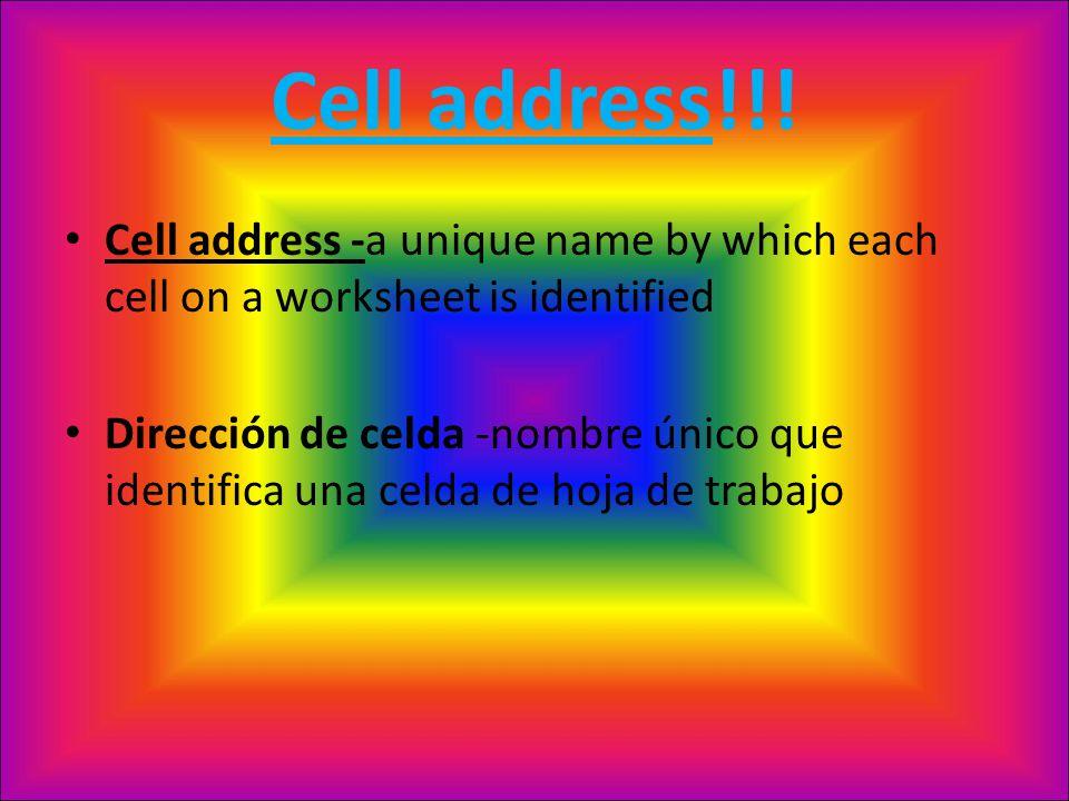 Cell address!!.