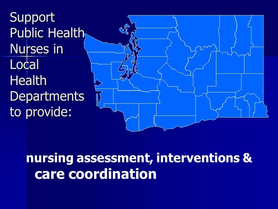 Support Public Health Nurses in Local Health Departments to provide: nursing assessment, interventions & care coordination