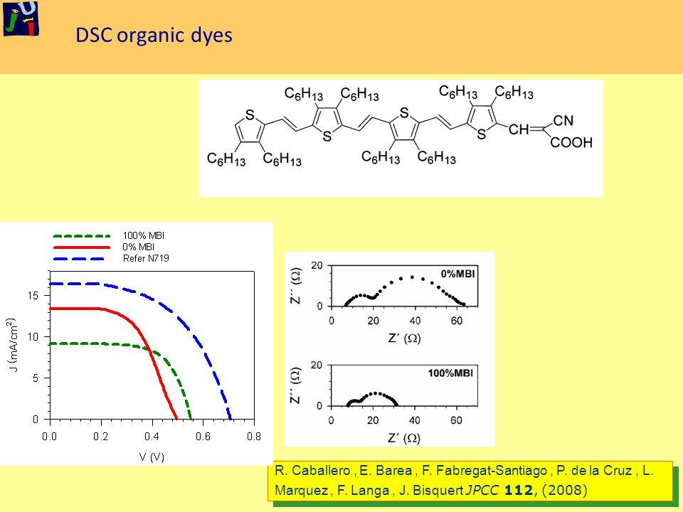 DSC organic dyes R. Caballero, E. Barea, F. Fabregat-Santiago, P.