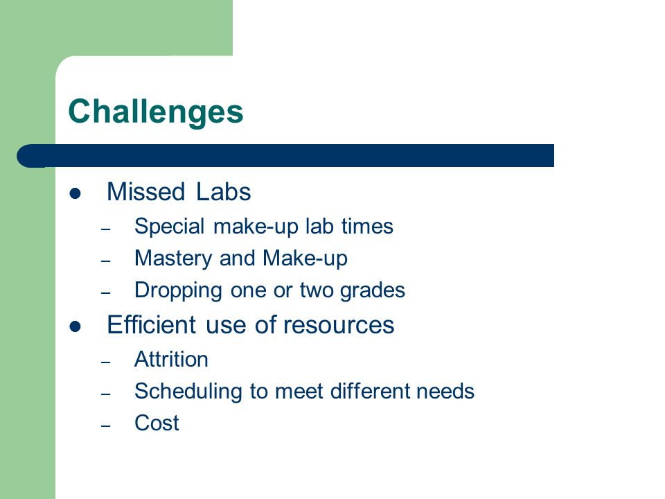Challenges Missed Labs – Special make-up lab times – Mastery and Make-up – Dropping one or two grades Efficient use of resources – Attrition – Scheduling to meet different needs – Cost