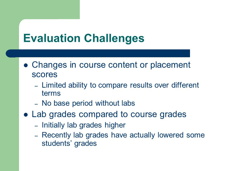 Evaluation Challenges Changes in course content or placement scores – Limited ability to compare results over different terms – No base period without labs Lab grades compared to course grades – Initially lab grades higher – Recently lab grades have actually lowered some students' grades
