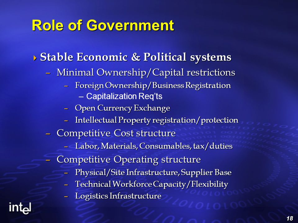 18  Stable Economic & Political systems –Minimal Ownership/Capital restrictions –Foreign Ownership/Business Registration –Capitalization Req'ts –Open Currency Exchange –Intellectual Property registration/protection –Competitive Cost structure –Labor, Materials, Consumables, tax/duties –Competitive Operating structure –Physical/Site Infrastructure, Supplier Base –Technical Workforce Capacity/Flexibility –Logistics Infrastructure Role of Government