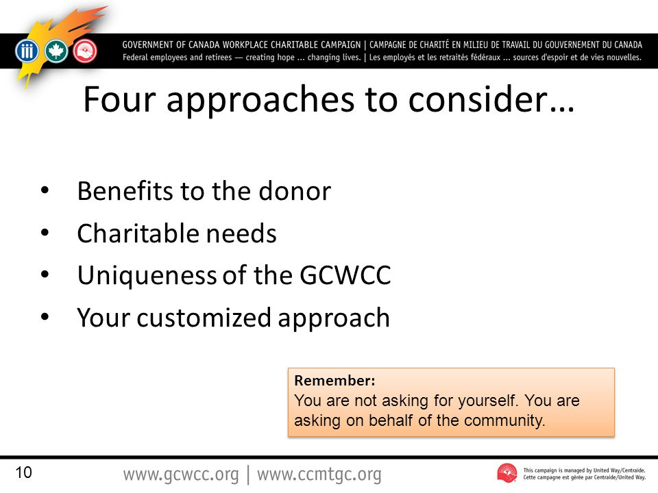Four approaches to consider… Benefits to the donor Charitable needs Uniqueness of the GCWCC Your customized approach 10 Remember: You are not asking for yourself.