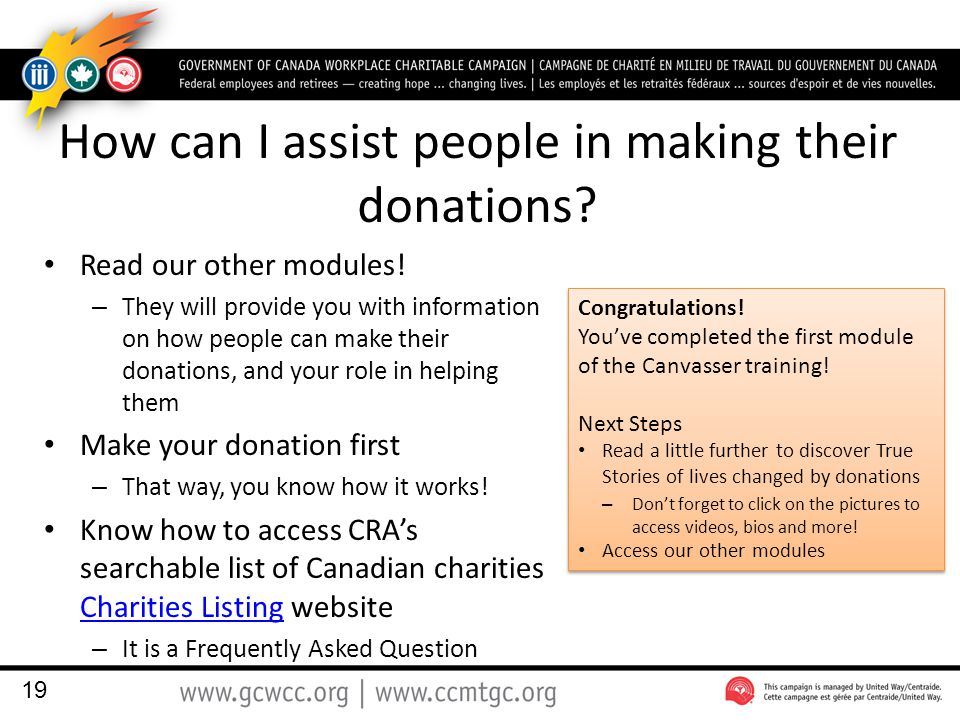 How can I assist people in making their donations.