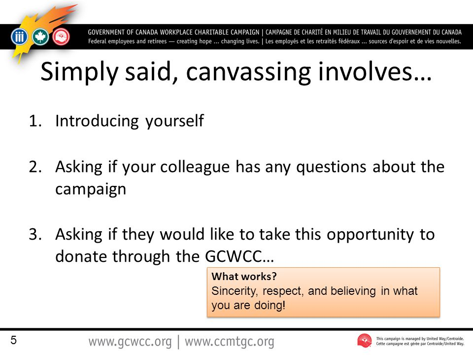 Simply said, canvassing involves… 1.Introducing yourself 2.Asking if your colleague has any questions about the campaign 3.Asking if they would like to take this opportunity to donate through the GCWCC… What works.