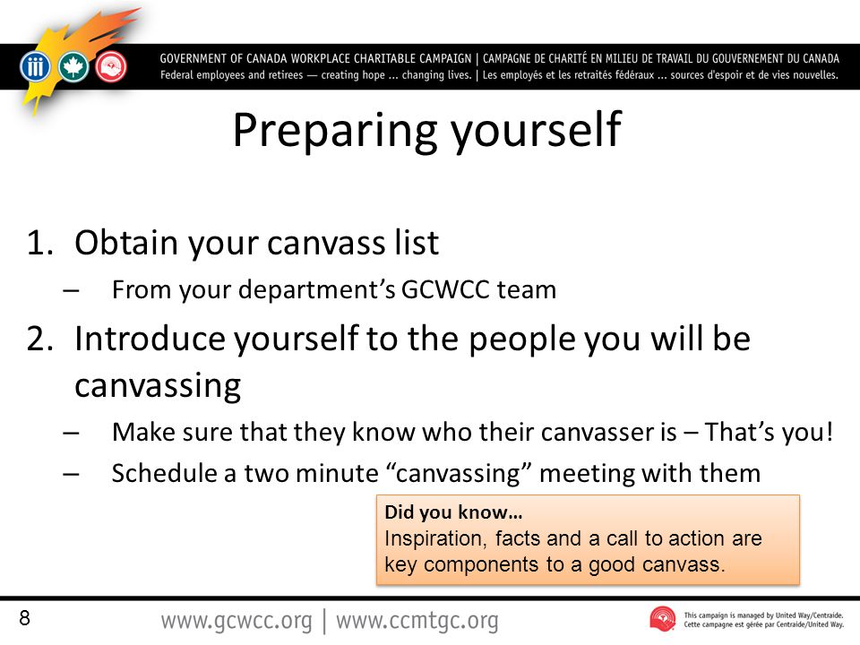 Preparing yourself 1.Obtain your canvass list – From your department's GCWCC team 2.Introduce yourself to the people you will be canvassing – Make sure that they know who their canvasser is – That's you.