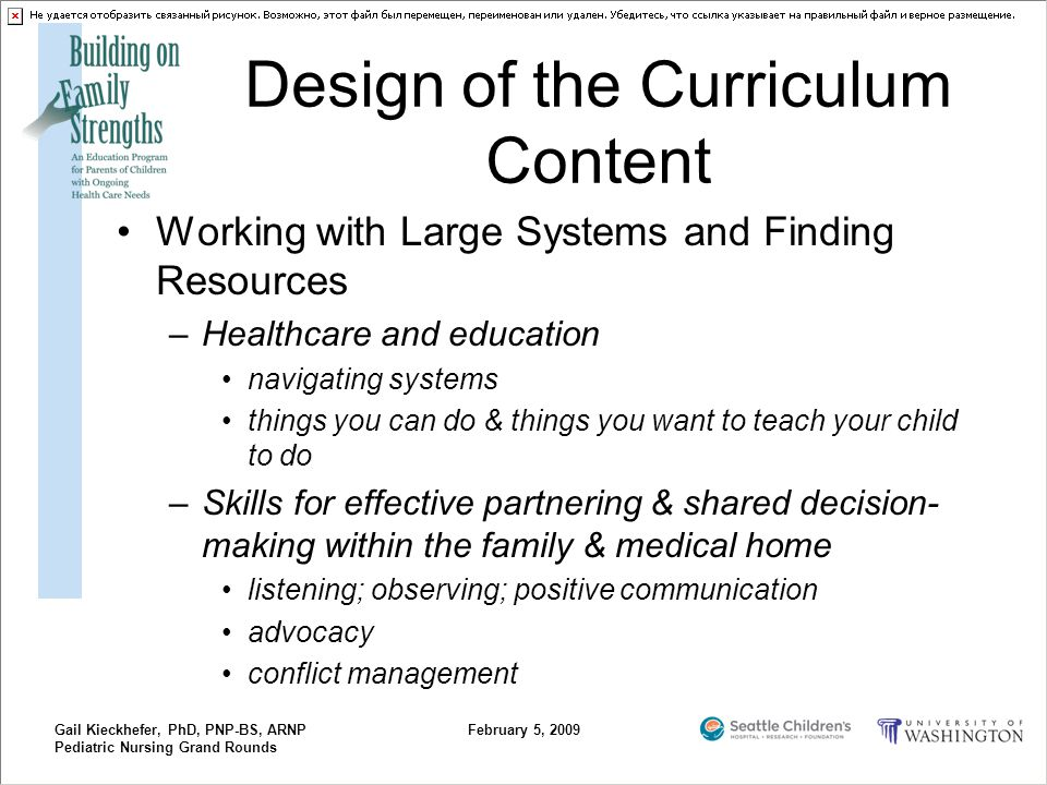 Gail Kieckhefer, PhD, PNP-BS, ARNP Pediatric Nursing Grand Rounds February 5, 2009 Design of the Curriculum Content Working with Large Systems and Fin