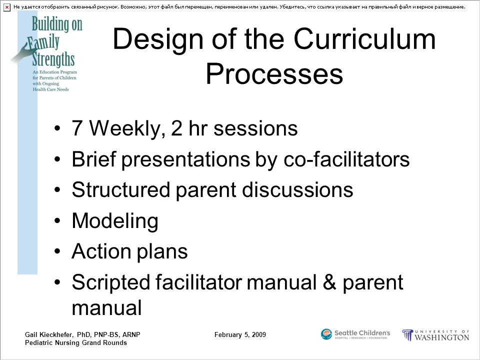 Gail Kieckhefer, PhD, PNP-BS, ARNP Pediatric Nursing Grand Rounds February 5, 2009 Design of the Curriculum Processes 7 Weekly, 2 hr sessions Brief pr