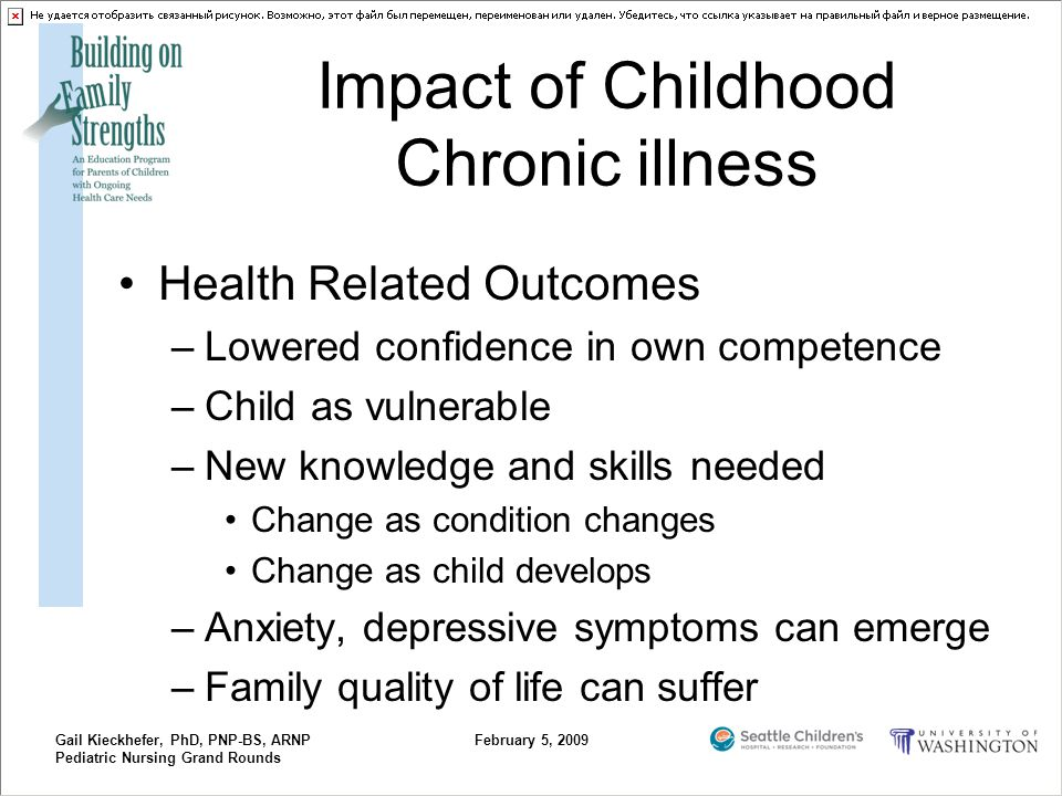 Gail Kieckhefer, PhD, PNP-BS, ARNP Pediatric Nursing Grand Rounds February 5, 2009 Impact of Childhood Chronic illness Health Related Outcomes –Lowere
