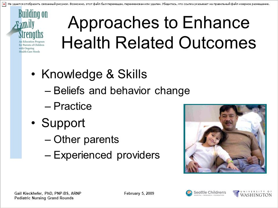 Gail Kieckhefer, PhD, PNP-BS, ARNP Pediatric Nursing Grand Rounds February 5, 2009 Approaches to Enhance Health Related Outcomes Knowledge & Skills –B