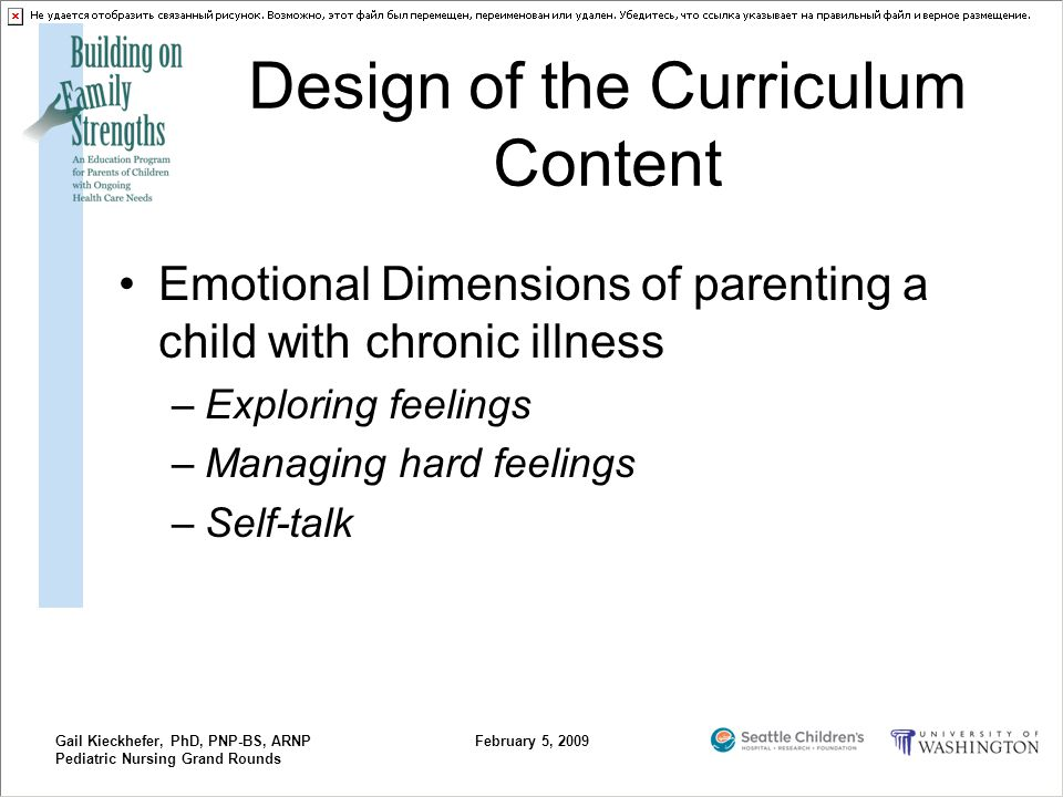 Gail Kieckhefer, PhD, PNP-BS, ARNP Pediatric Nursing Grand Rounds February 5, 2009 Design of the Curriculum Content Emotional Dimensions of parenting