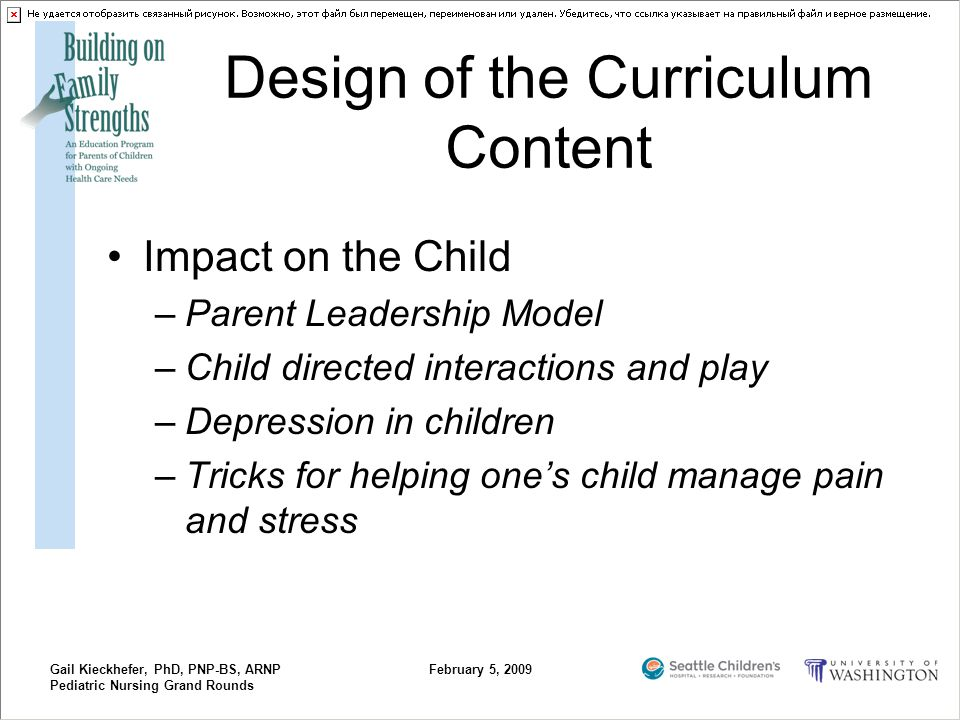 Gail Kieckhefer, PhD, PNP-BS, ARNP Pediatric Nursing Grand Rounds February 5, 2009 Design of the Curriculum Content Impact on the Child –Parent Leader