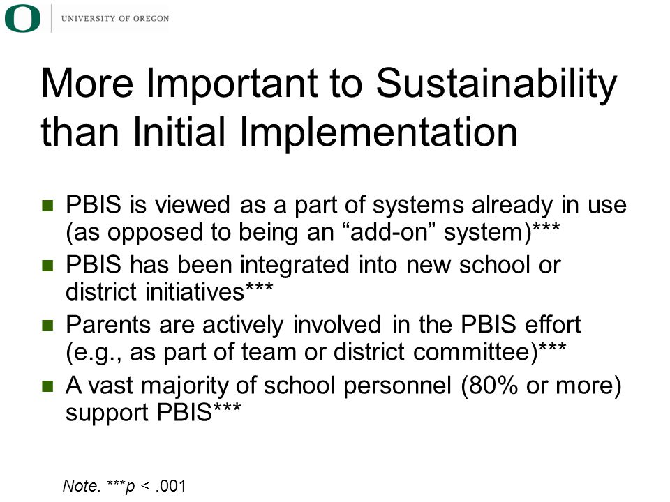 PBIS is viewed as a part of systems already in use (as opposed to being an add-on system)*** PBIS has been integrated into new school or district initiatives*** Parents are actively involved in the PBIS effort (e.g., as part of team or district committee)*** A vast majority of school personnel (80% or more) support PBIS*** More Important to Sustainability than Initial Implementation Note.