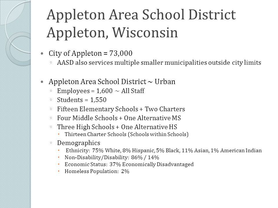 Appleton Area School District Appleton, Wisconsin City of Appleton = 73,000 ◦ AASD also services multiple smaller municipalities outside city limits Appleton Area School District ~ Urban ◦ Employees = 1,600 ~ All Staff ◦ Students = 1,550 ◦ Fifteen Elementary Schools + Two Charters ◦ Four Middle Schools + One Alternative MS ◦ Three High Schools + One Alternative HS  Thirteen Charter Schools (Schools within Schools) ◦ Demographics  Ethnicity: 75% White, 8% Hispanic, 5% Black, 11% Asian, 1% American Indian  Non-Disability/Disability: 86% / 14%  Economic Status: 37% Economically Disadvantaged  Homeless Population: 2%