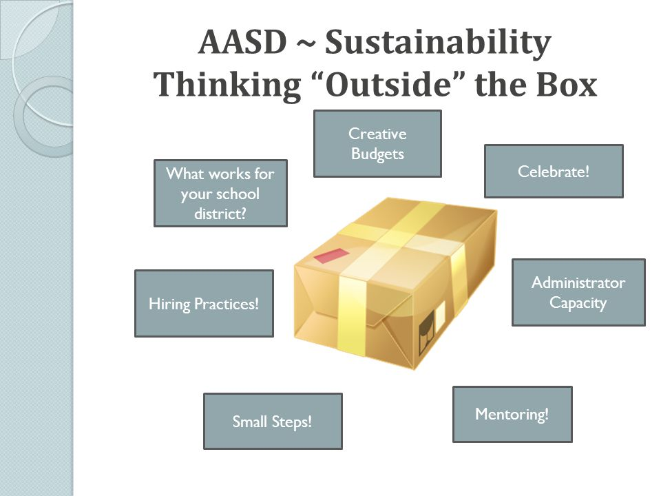 AASD ~ Sustainability Thinking Outside the Box What works for your school district.
