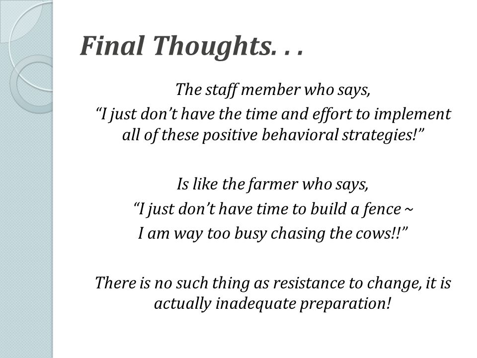 Final Thoughts...