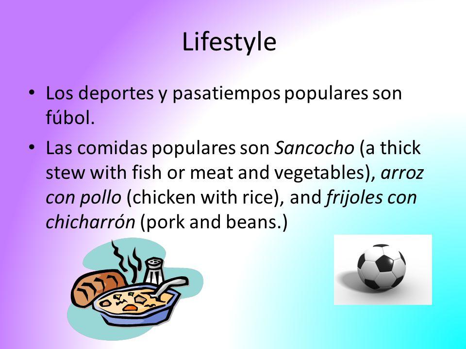 Lifestyle Los deportes y pasatiempos populares son fúbol.
