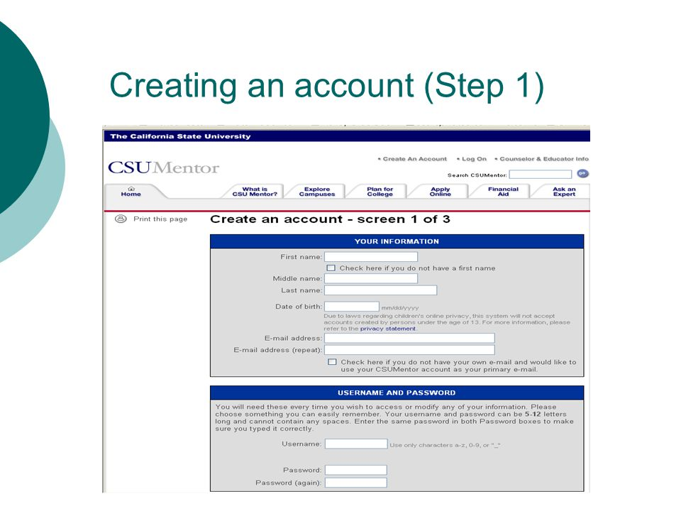 Creating an account (Step 1)