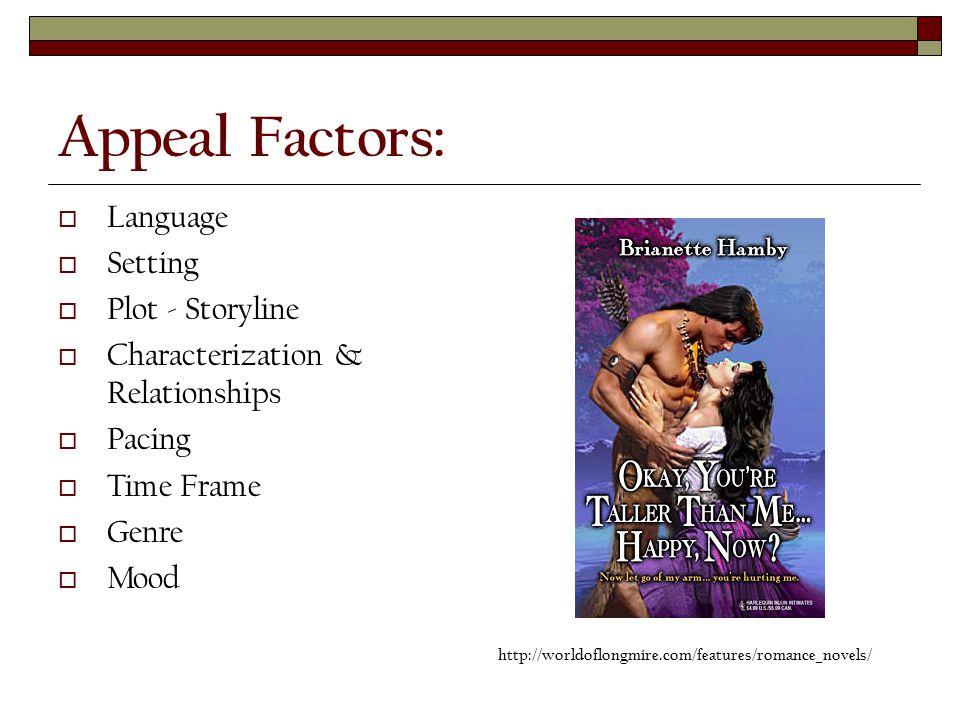 Appeal Factors:  Language  Setting  Plot - Storyline  Characterization & Relationships  Pacing  Time Frame  Genre  Mood http://worldoflongmire.com/features/romance_novels/
