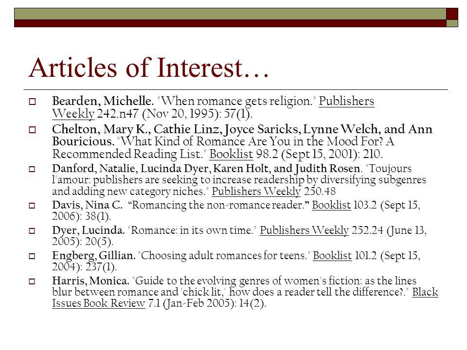 Articles of Interest…  Bearden, Michelle.