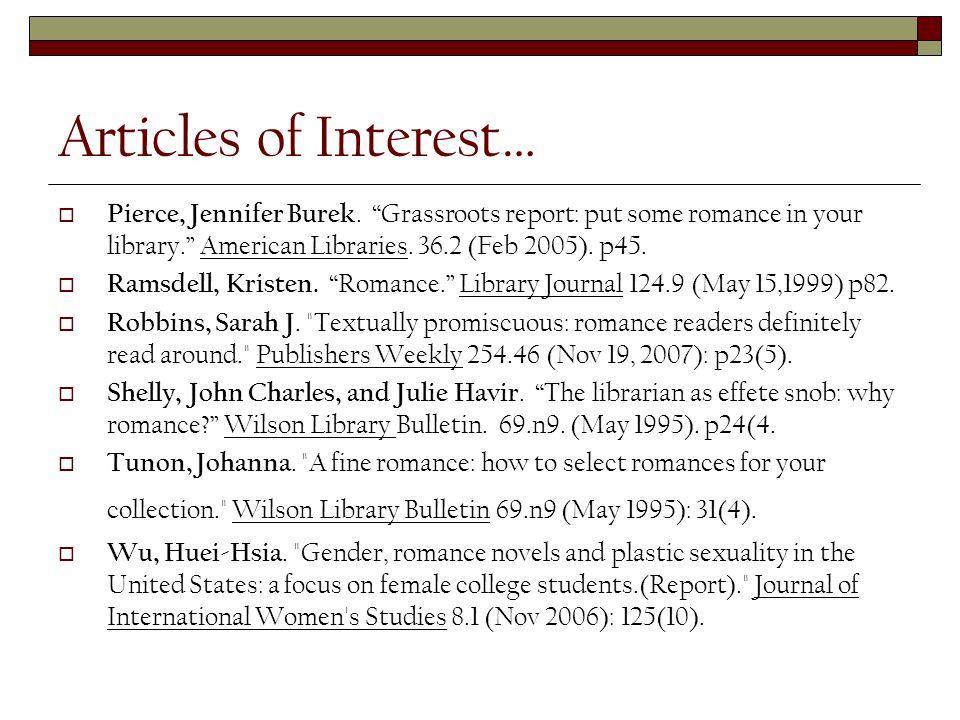 Articles of Interest…  Pierce, Jennifer Burek.