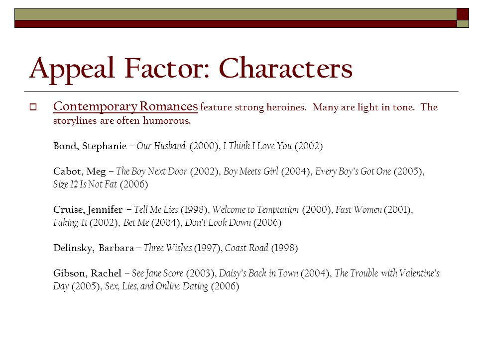 Appeal Factor: Characters  Contemporary Romances feature strong heroines.