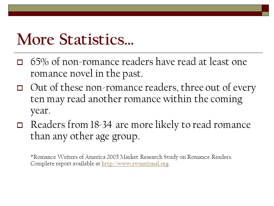 More Statistics…  65% of non-romance readers have read at least one romance novel in the past.