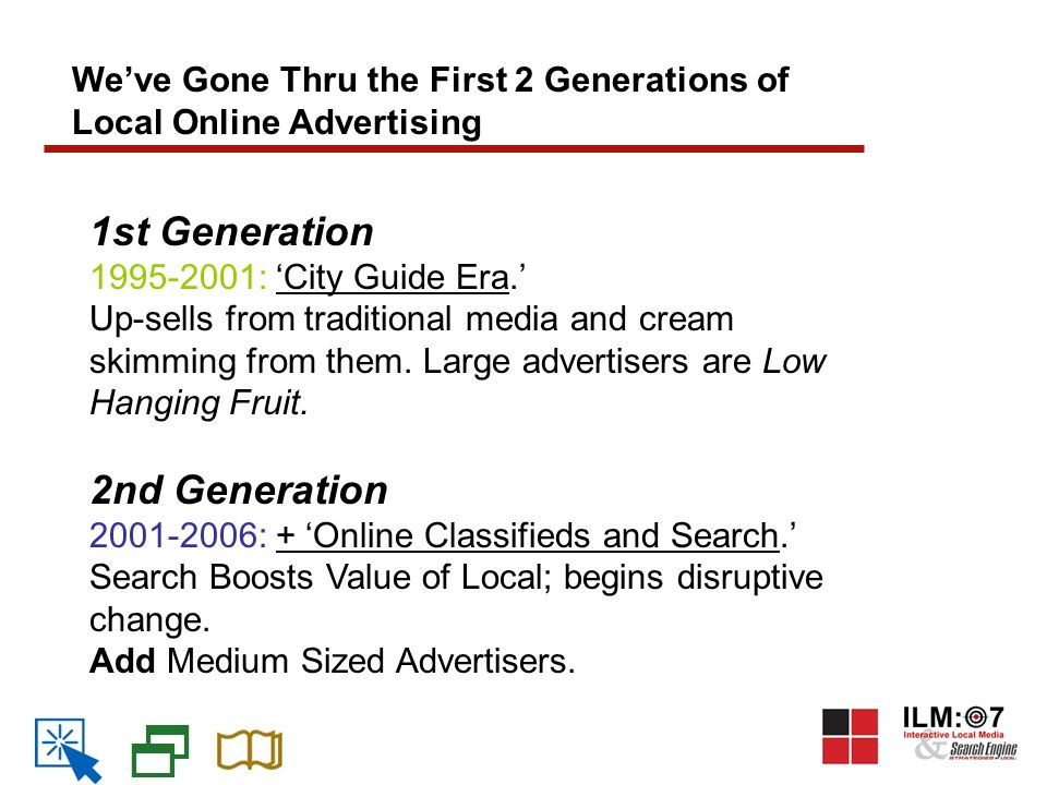 We've Gone Thru the First 2 Generations of Local Online Advertising 1st Generation 1995-2001: 'City Guide Era.' Up-sells from traditional media and cream skimming from them.