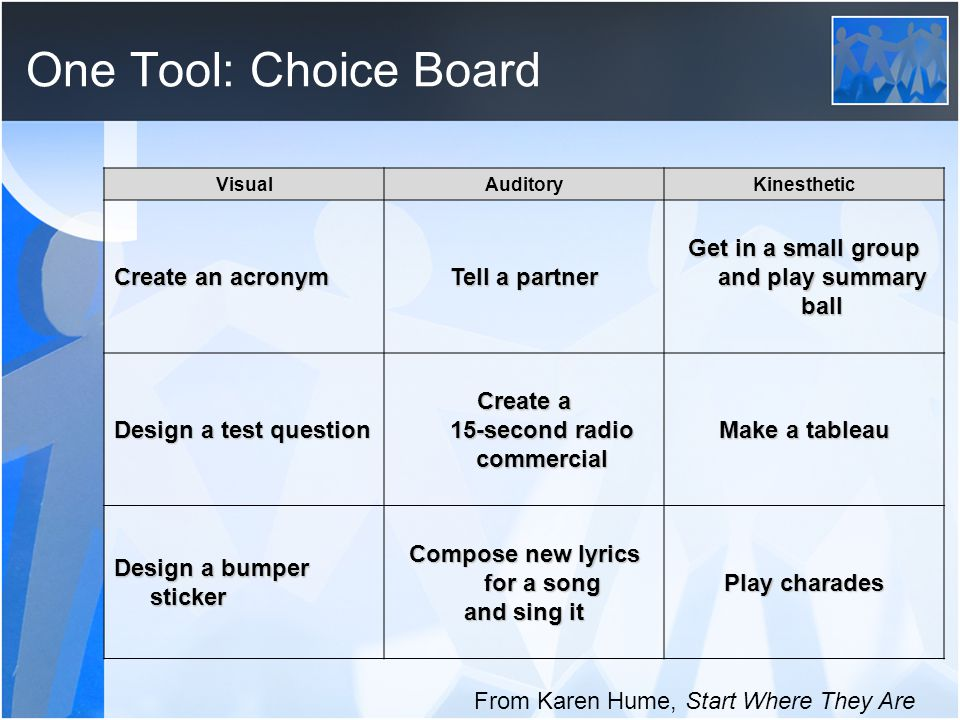 One Tool: Choice Board VisualAuditoryKinesthetic Create an acronym Tell a partner Get in a small group and play summary ball Design a test question Create a 15-second radio commercial Make a tableau Design a bumper sticker Compose new lyrics for a song and sing it Play charades From Karen Hume, Start Where They Are