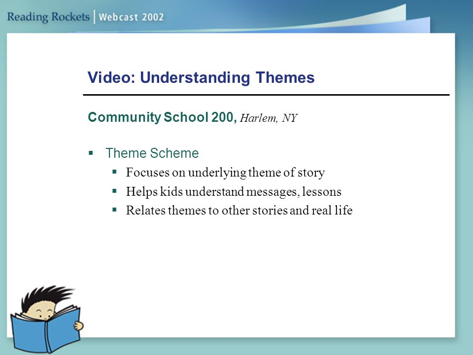 Video: Understanding Themes Community School 200, Harlem, NY  Theme Scheme  Focuses on underlying theme of story  Helps kids understand messages, l