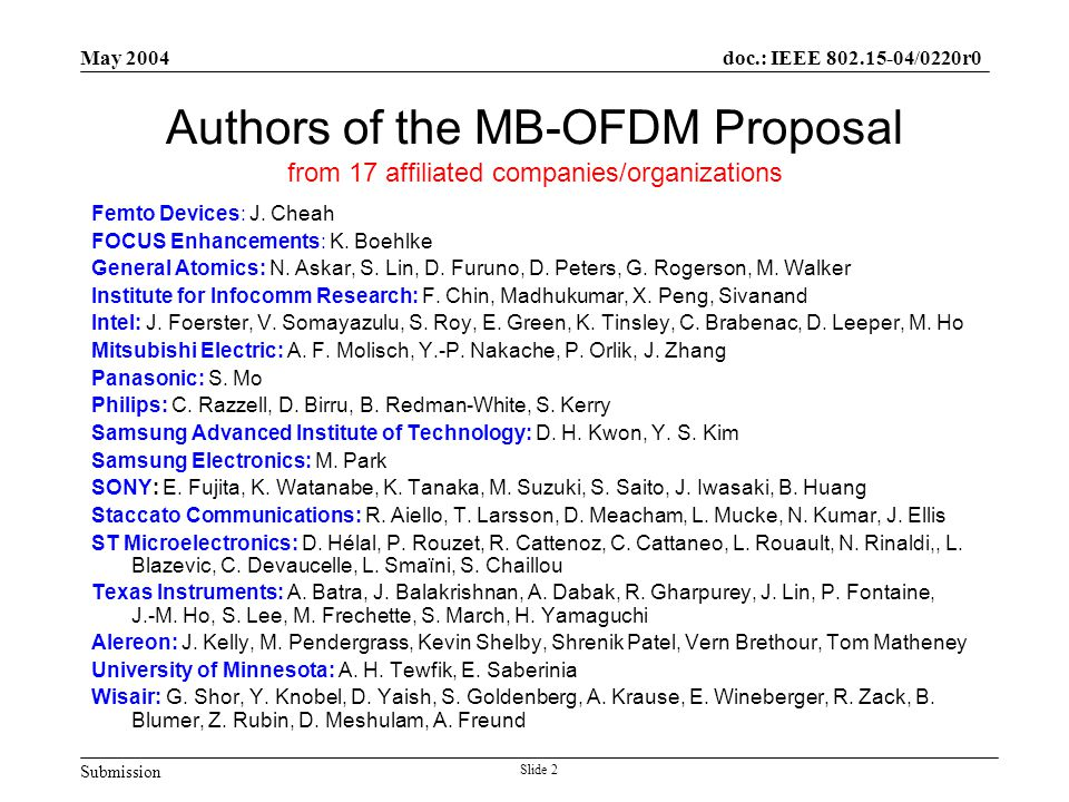 Submission doc.: IEEE 802.15-04/0220r0 May 2004 Slide 2 Authors of the MB-OFDM Proposal from 17 affiliated companies/organizations Femto Devices: J.