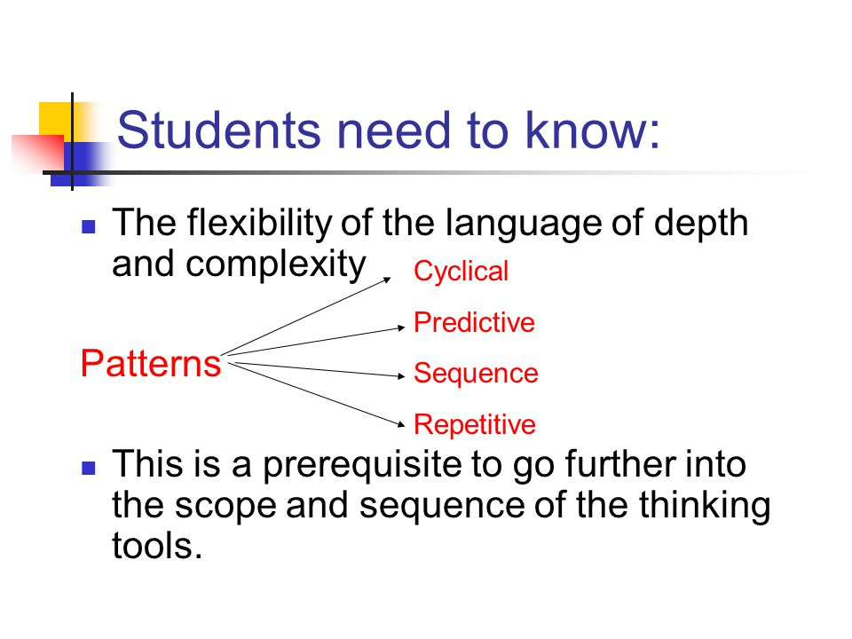 Students need to know: The flexibility of the language of depth and complexity Patterns This is a prerequisite to go further into the scope and sequen