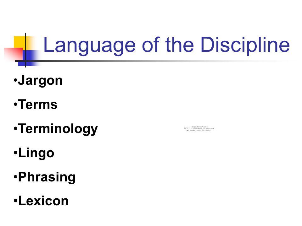 Language of the Discipline Jargon Terms Terminology Lingo Phrasing Lexicon