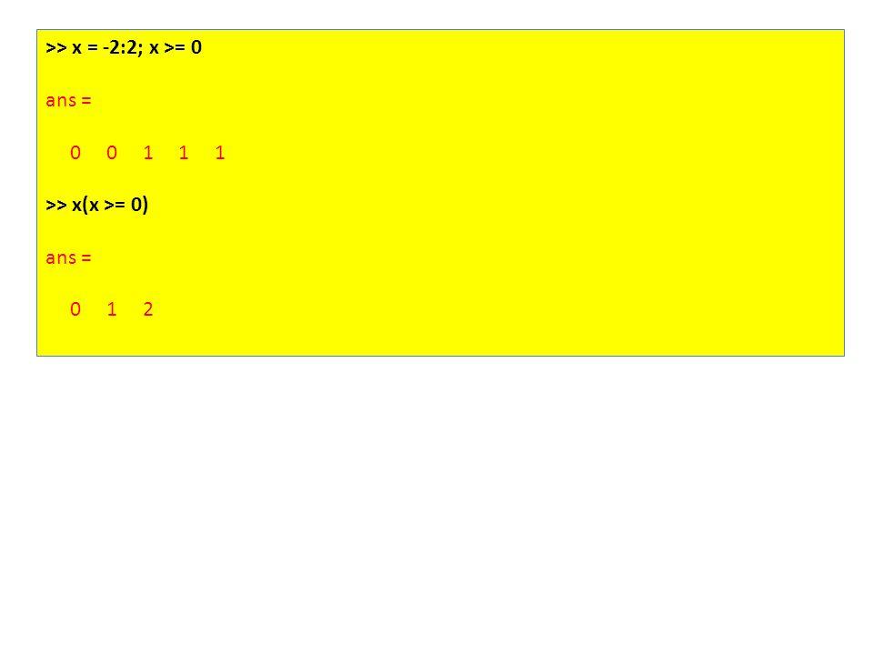 >> x = -2:2; x >= 0 ans = 0 0 1 1 1 >> x(x >= 0) ans = 0 1 2