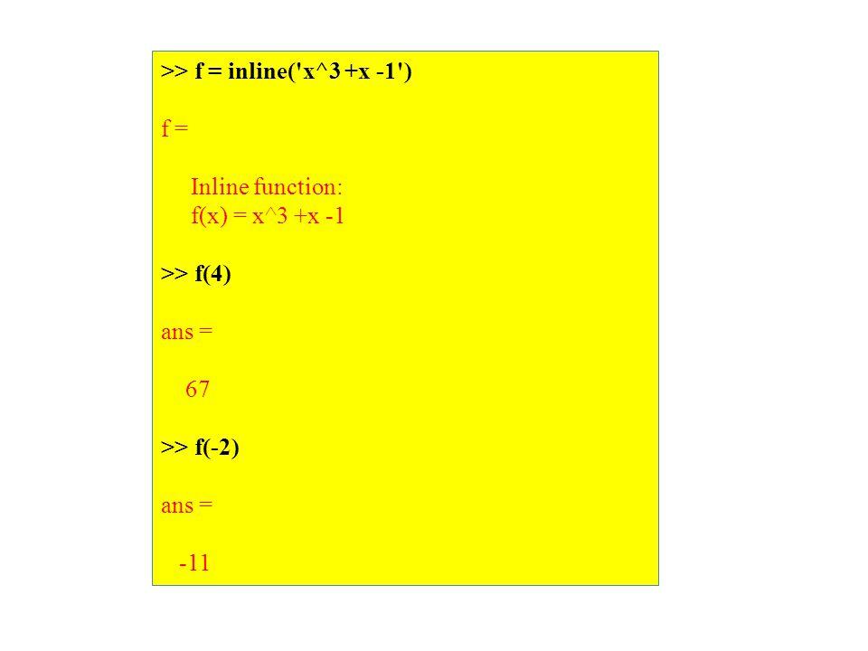 >> f = inline( x^3 +x -1 ) f = Inline function: f(x) = x^3 +x -1 >> f(4) ans = 67 >> f(-2) ans = -11