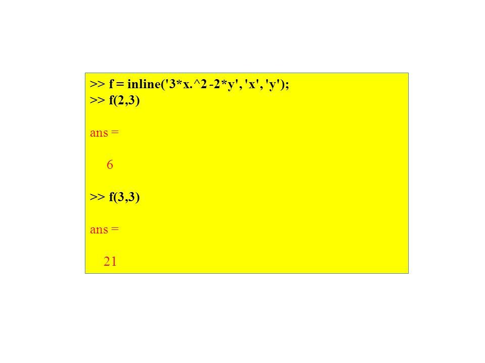 >> f = inline( 3*x.^2 -2*y , x , y ); >> f(2,3) ans = 6 >> f(3,3) ans = 21
