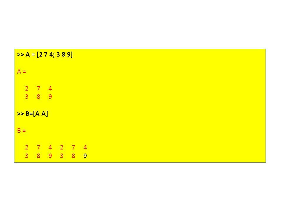 >> A = [2 7 4; 3 8 9] A = 2 7 4 3 8 9 >> B=[A A] B = 2 7 4 2 7 4 3 8 9 3 8 9
