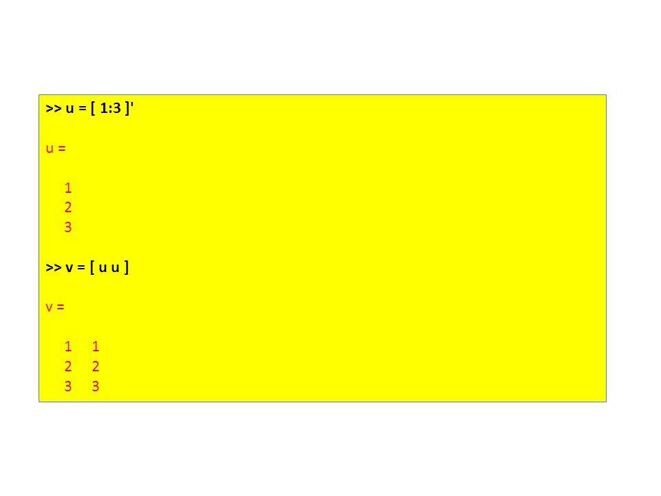 >> u = [ 1:3 ] u = 1 2 3 >> v = [ u u ] v = 1 1 2 2 3 3