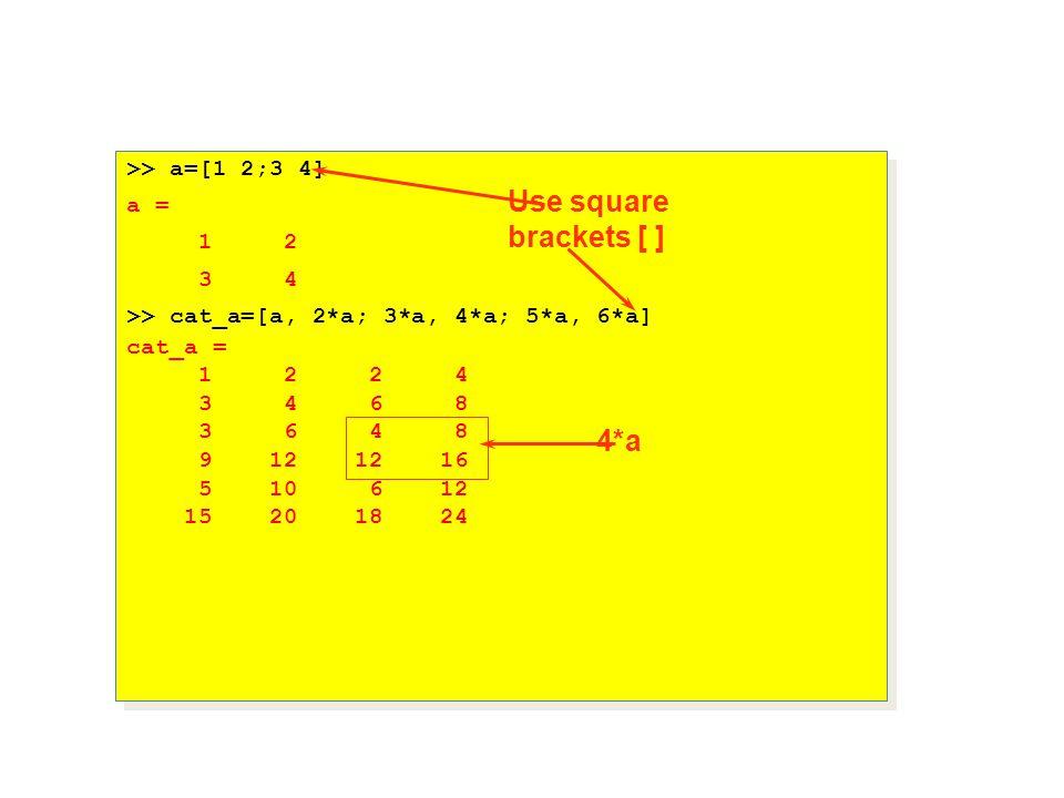 >> a=[1 2;3 4] a = 1 2 3 4 >> cat_a=[a, 2*a; 3*a, 4*a; 5*a, 6*a] cat_a = 1 2 2 4 3 4 6 8 3 6 4 8 9 12 12 16 5 10 6 12 15 20 18 24 >> a=[1 2;3 4] a = 1 2 3 4 >> cat_a=[a, 2*a; 3*a, 4*a; 5*a, 6*a] cat_a = 1 2 2 4 3 4 6 8 3 6 4 8 9 12 12 16 5 10 6 12 15 20 18 24 Use square brackets [ ] 4*a