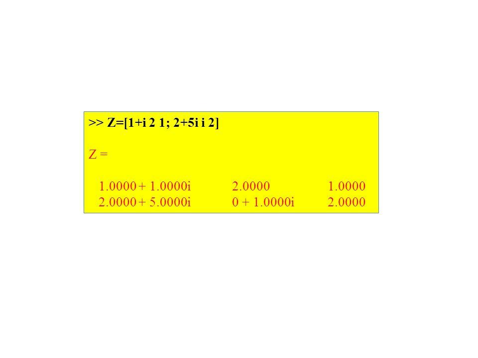 >> Z=[1+i 2 1; 2+5i i 2] Z = 1.0000 + 1.0000i 2.0000 1.0000 2.0000 + 5.0000i 0 + 1.0000i 2.0000