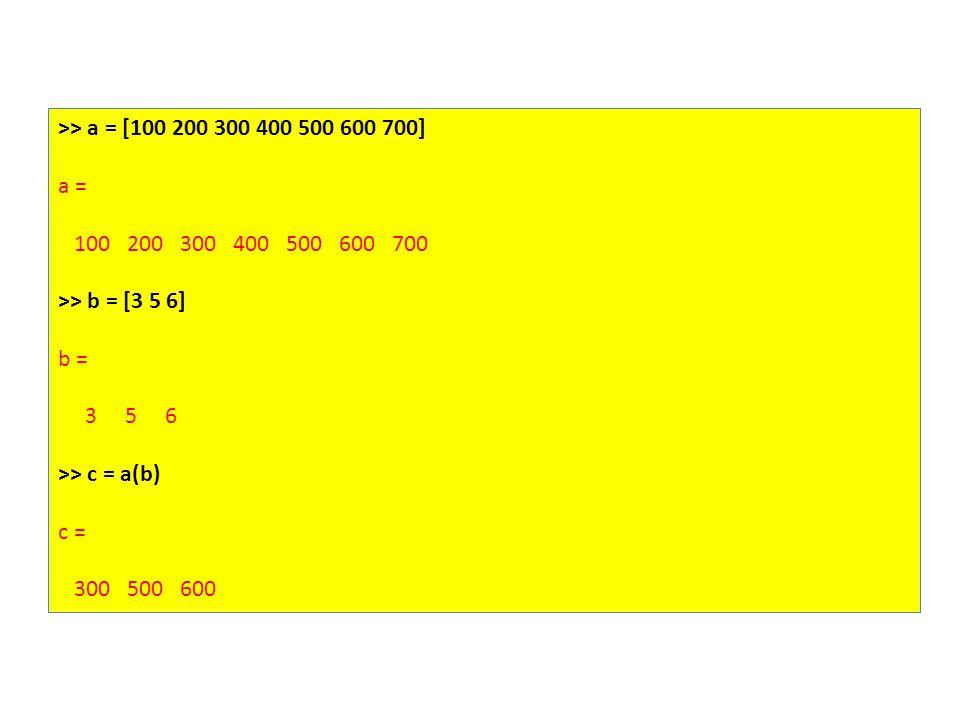 >> a = [100 200 300 400 500 600 700] a = 100 200 300 400 500 600 700 >> b = [3 5 6] b = 3 5 6 >> c = a(b) c = 300 500 600