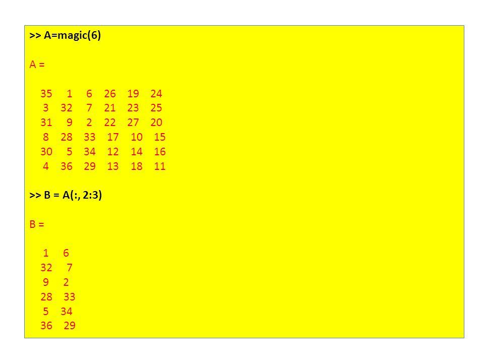 >> A=magic(6) A = 35 1 6 26 19 24 3 32 7 21 23 25 31 9 2 22 27 20 8 28 33 17 10 15 30 5 34 12 14 16 4 36 29 13 18 11 >> B = A(:, 2:3) B = 1 6 32 7 9 2 28 33 5 34 36 29