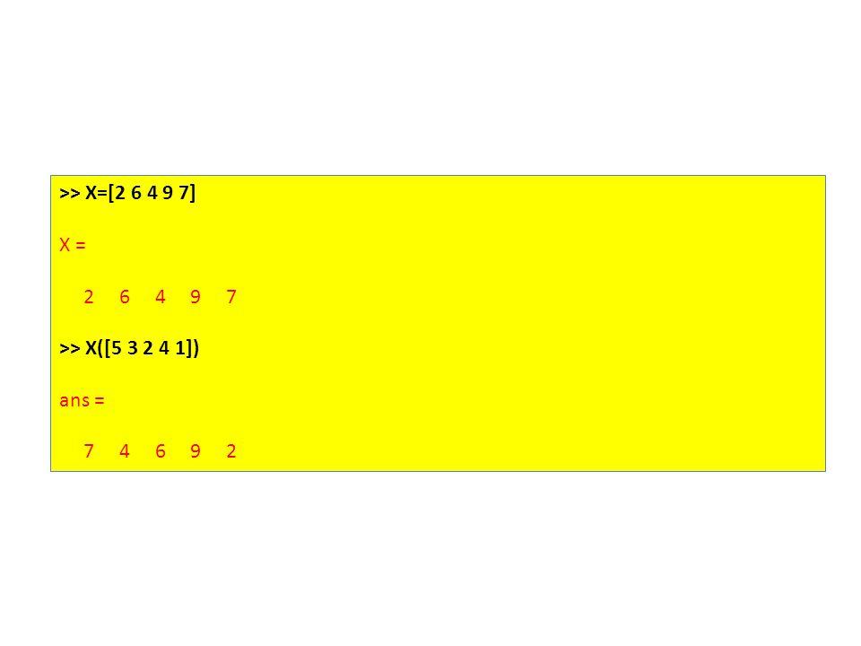 >> X=[2 6 4 9 7] X = 2 6 4 9 7 >> X([5 3 2 4 1]) ans = 7 4 6 9 2