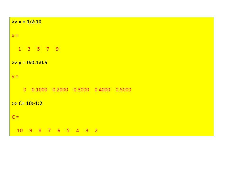 >> x = 1:2:10 x = 1 3 5 7 9 >> y = 0:0.1:0.5 y = 0 0.1000 0.2000 0.3000 0.4000 0.5000 >> C= 10:-1:2 C = 10 9 8 7 6 5 4 3 2