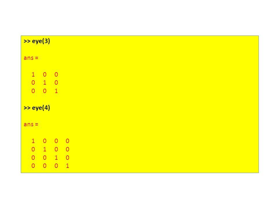 >> eye(3) ans = 1 0 0 0 1 0 0 0 1 >> eye(4) ans = 1 0 0 0 0 1 0 0 0 0 1 0 0 0 0 1
