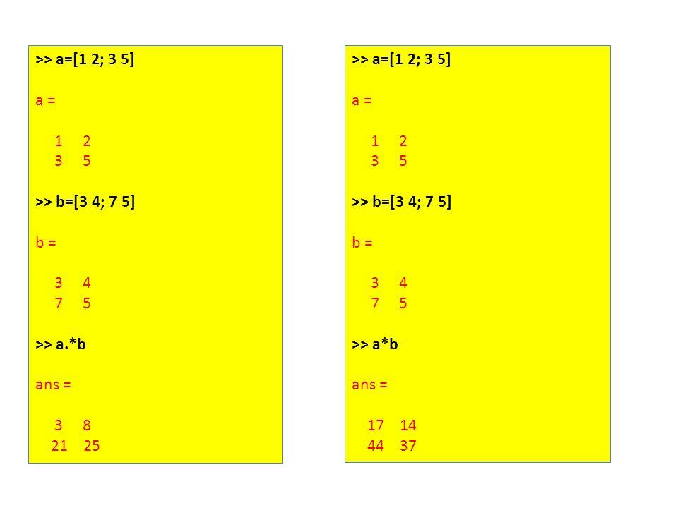 >> a=[1 2; 3 5] a = 1 2 3 5 >> b=[3 4; 7 5] b = 3 4 7 5 >> a.*b ans = 3 8 21 25 >> a=[1 2; 3 5] a = 1 2 3 5 >> b=[3 4; 7 5] b = 3 4 7 5 >> a*b ans = 17 14 44 37