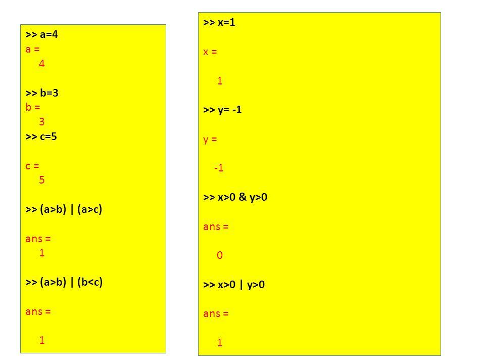 >> a=4 a = 4 >> b=3 b = 3 >> c=5 c = 5 >> (a>b) | (a>c) ans = 1 >> (a>b) | (b<c) ans = 1 >> x=1 x = 1 >> y= -1 y = >> x>0 & y>0 ans = 0 >> x>0 | y>0 ans = 1
