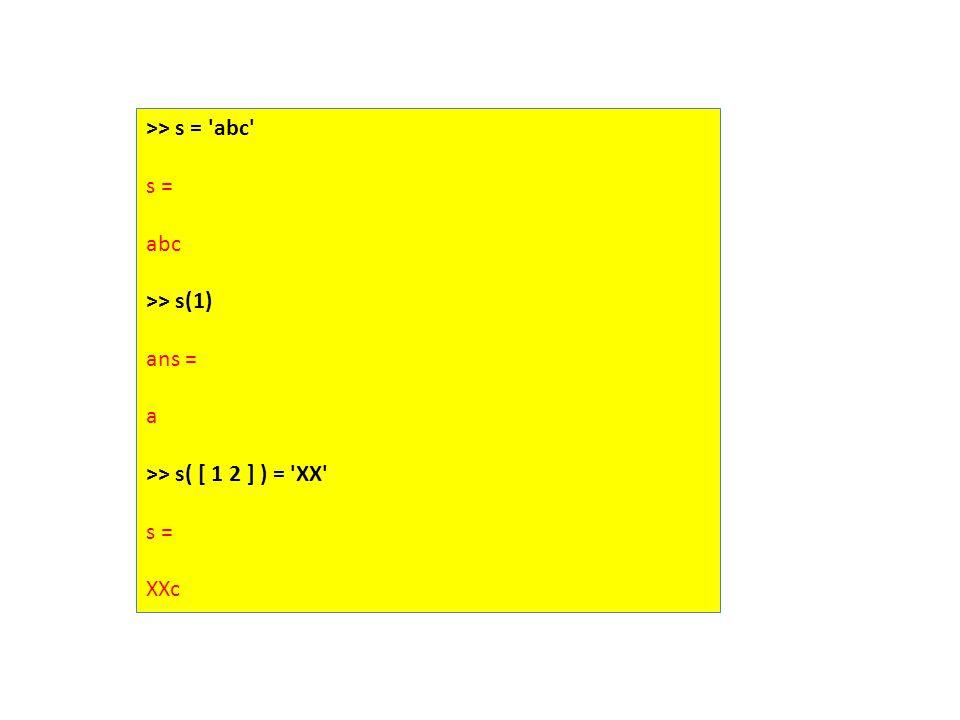 >> s = abc s = abc >> s(1) ans = a >> s( [ 1 2 ] ) = XX s = XXc
