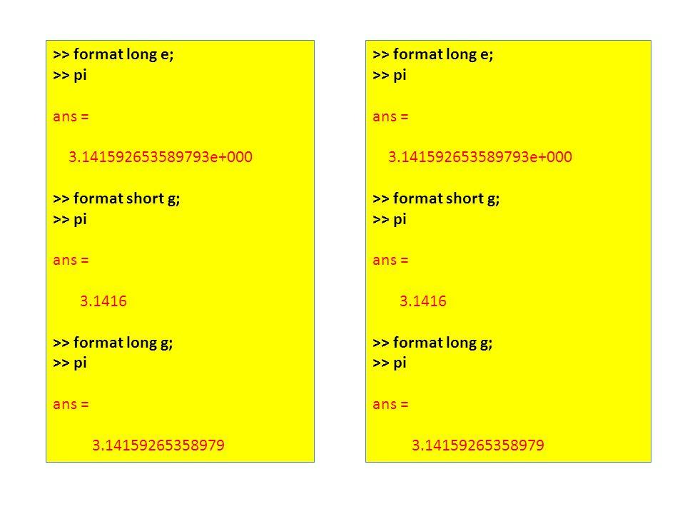 >> format long e; >> pi ans = 3.141592653589793e+000 >> format short g; >> pi ans = 3.1416 >> format long g; >> pi ans = 3.14159265358979 >> format long e; >> pi ans = 3.141592653589793e+000 >> format short g; >> pi ans = 3.1416 >> format long g; >> pi ans = 3.14159265358979