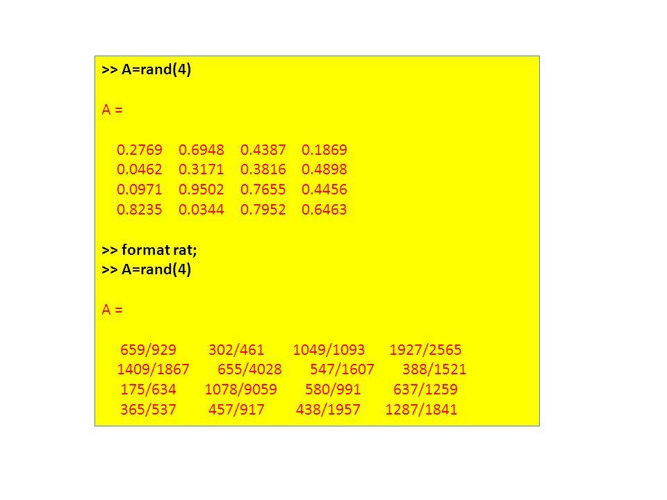 >> A=rand(4) A = 0.2769 0.6948 0.4387 0.1869 0.0462 0.3171 0.3816 0.4898 0.0971 0.9502 0.7655 0.4456 0.8235 0.0344 0.7952 0.6463 >> format rat; >> A=rand(4) A = 659/929 302/461 1049/1093 1927/2565 1409/1867 655/4028 547/1607 388/1521 175/634 1078/9059 580/991 637/1259 365/537 457/917 438/1957 1287/1841
